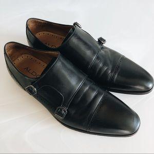 Men's Aldo Black Double Monk Strap Shoes
